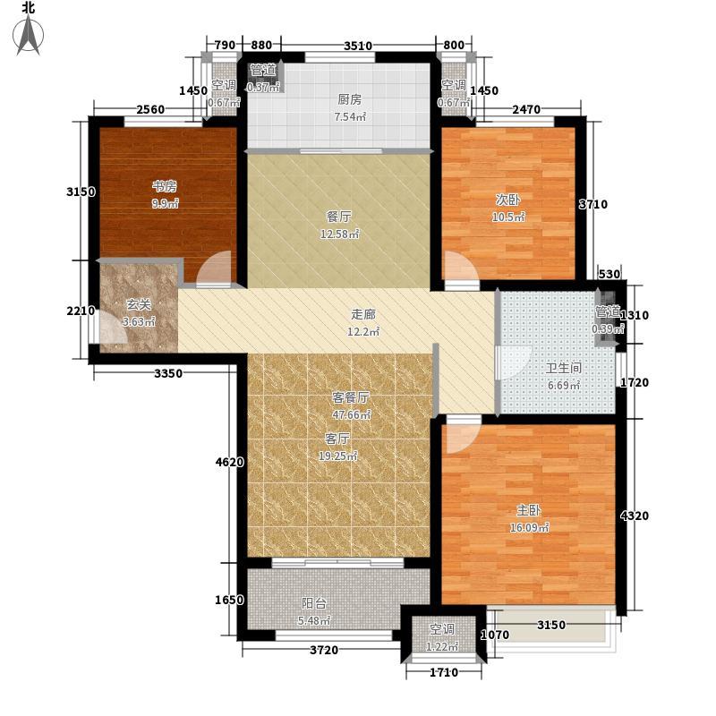 中海国际社区·御城122.00㎡一里城生活华兹3C户型3室2厅