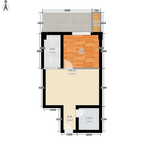 阳光100北园1室0厅1卫1厨47.00㎡户型图