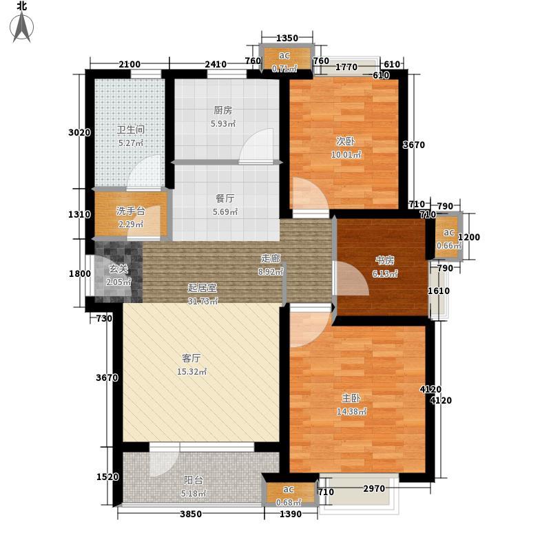 海尔·山海湾90.00㎡宽景阳台A2户型3室2厅