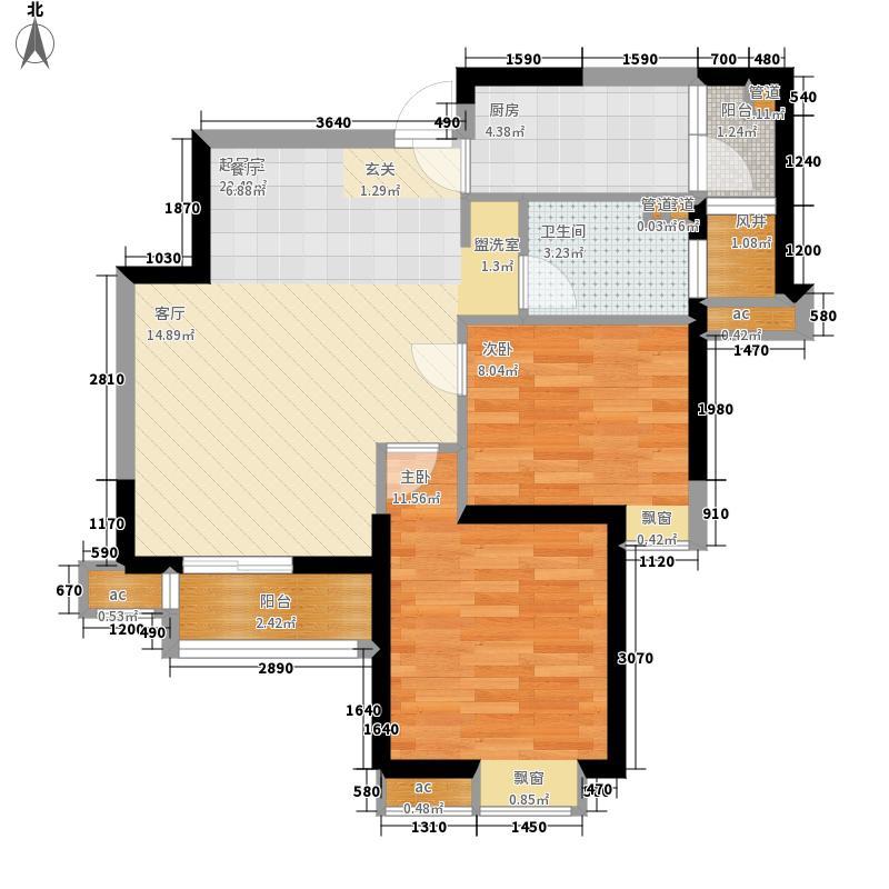 星河荣御78.00㎡二期高层标准层A1'户型2室2厅