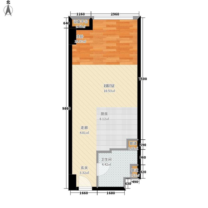熙汇广场58.00㎡公寓标准层E户型1室1厅