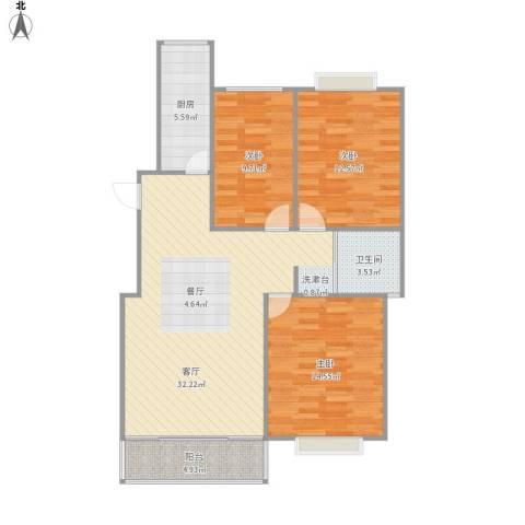 同创・九龙盛世园3室1厅1卫1厨112.00㎡户型图