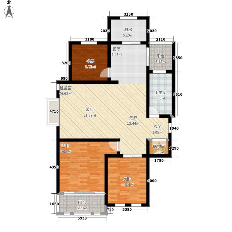 半山威尼斯121.46㎡A户型3室2厅