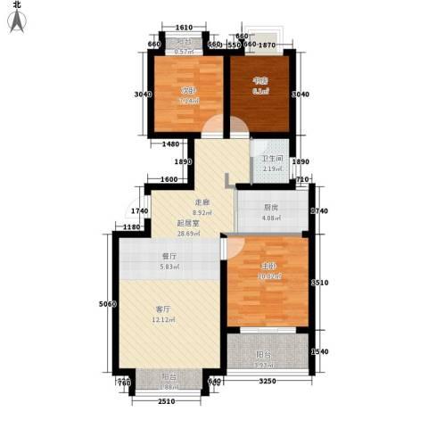 荣盛・阿尔卡迪亚3室0厅1卫1厨92.00㎡户型图
