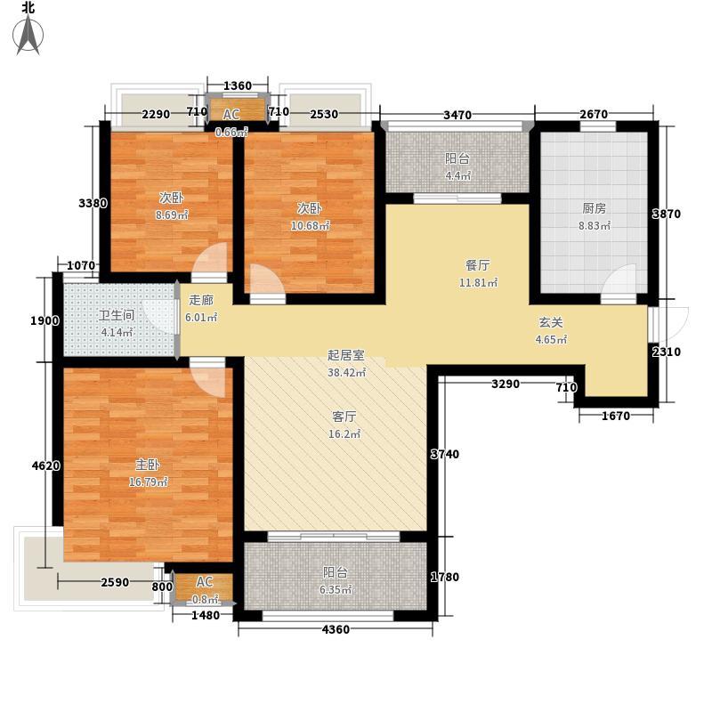鑫苑名家113.00㎡GA3-1户型3室2厅