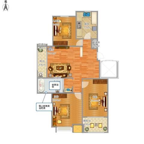 海亮・院里3室1厅1卫1厨93.85㎡户型图