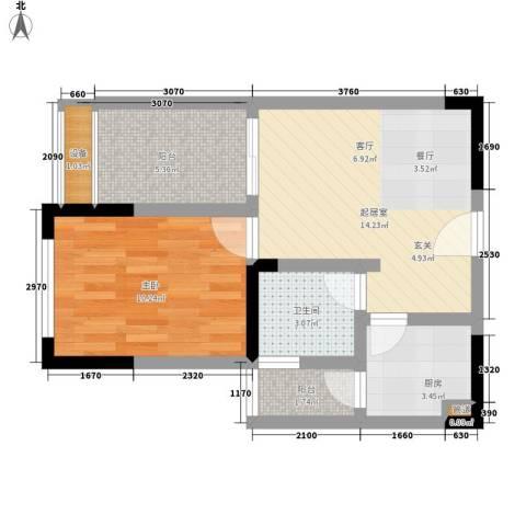 东邦城市广场1室0厅1卫1厨40.00㎡户型图