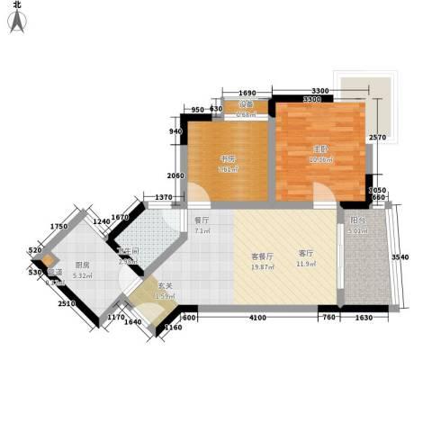 金银湾小区2室1厅1卫1厨76.00㎡户型图