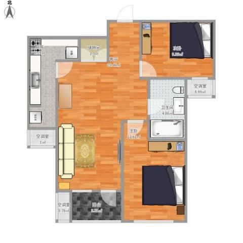 季景华庭2室1厅1卫1厨91.00㎡户型图