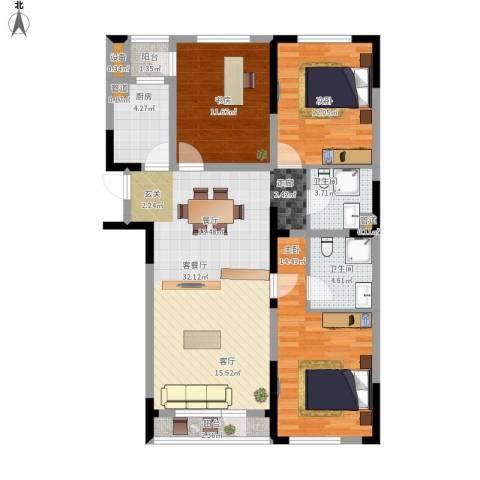 抚顺澳海澜庭3室1厅2卫1厨126.00㎡户型图