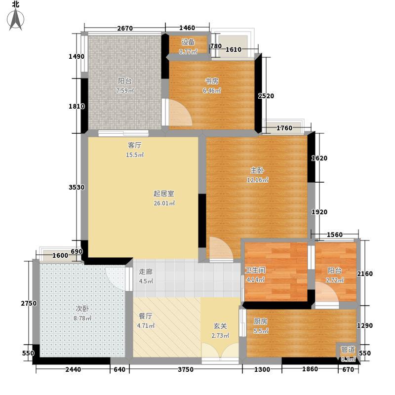 金科云湖天都73.68㎡1号楼2号房面积7368m户型