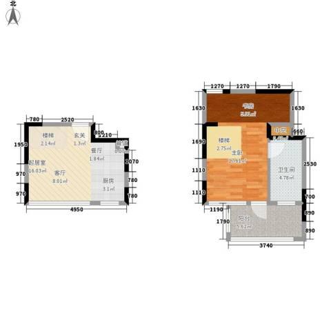 美泰天韵1室0厅1卫0厨53.00㎡户型图
