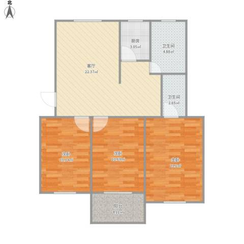 316826东苑村3室1厅2卫1厨95.00㎡户型图