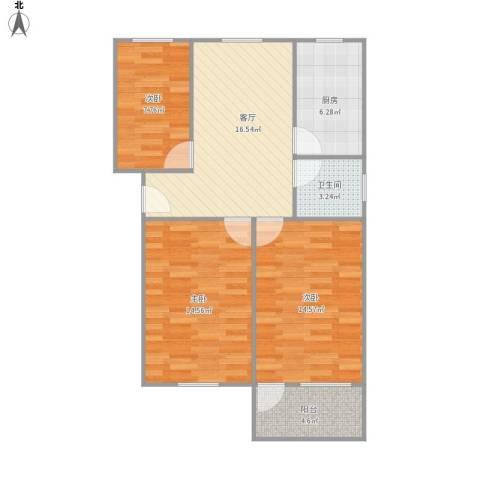 293863新养蚕里新村3室1厅1卫1厨90.00㎡户型图