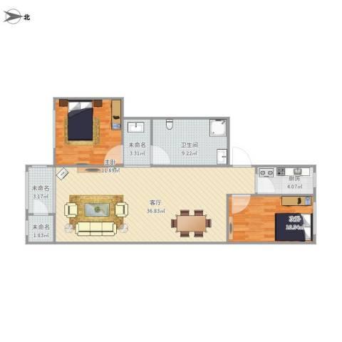兴政西里2室1厅1卫1厨108.00㎡户型图