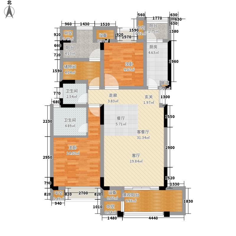 天盈首原B33阳台户型2室2厅