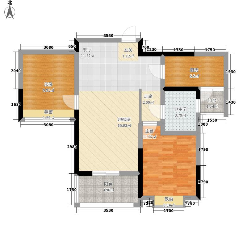 卓越·蔚蓝群岛75.00㎡蒙克丽舍户型2室2厅