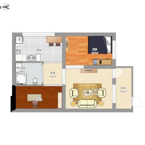海子角西里2室1厅1卫1厨72.00㎡户型图