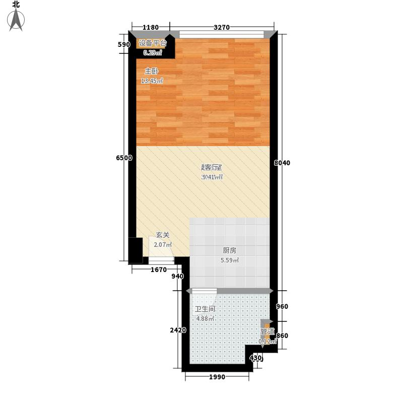熙汇广场55.00㎡公寓标准层C户型1室1厅