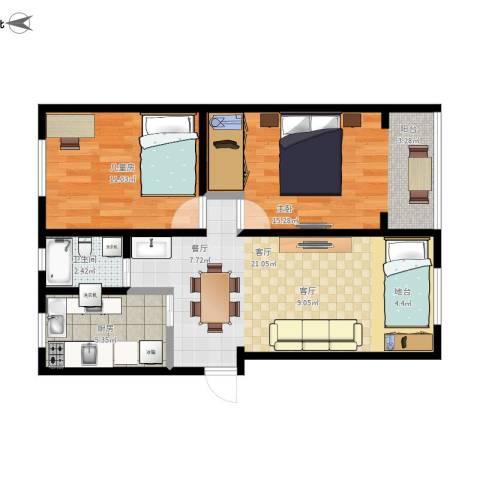 锦绣小区2室1厅1卫1厨77.00㎡户型图
