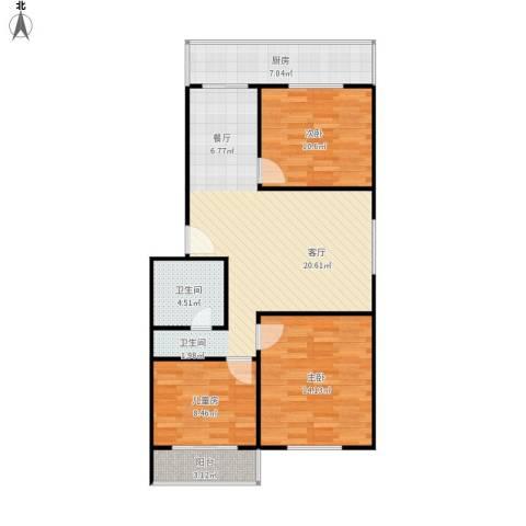 金慧小区3室1厅1卫1厨104.00㎡户型图