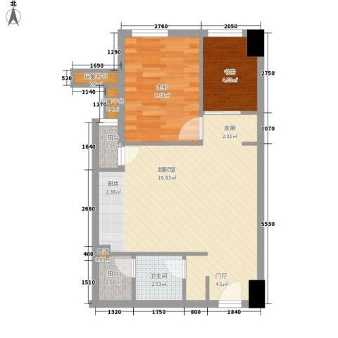 外国2室0厅1卫0厨52.16㎡户型图