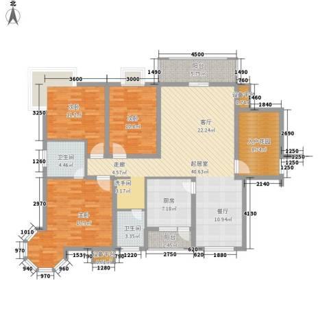 金域南外滩3室0厅2卫1厨130.00㎡户型图