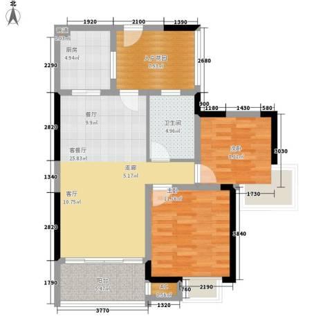 龙城静园2室1厅1卫1厨108.00㎡户型图