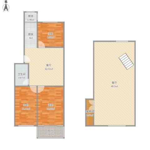 汉口路小区3室2厅1卫1厨149.00㎡户型图