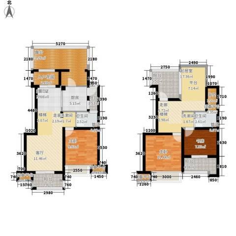 淳大香槟年华3室0厅2卫1厨113.75㎡户型图