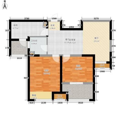 恒文星尚湾2室0厅1卫1厨83.00㎡户型图