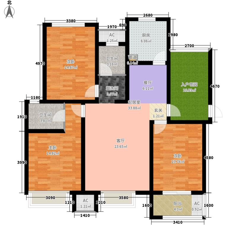绿地国际生态城(五湖名邸)132.00㎡B3平面户型3室2厅