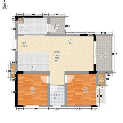 金科云湖天都2室0厅1卫1厨76.00㎡户型图