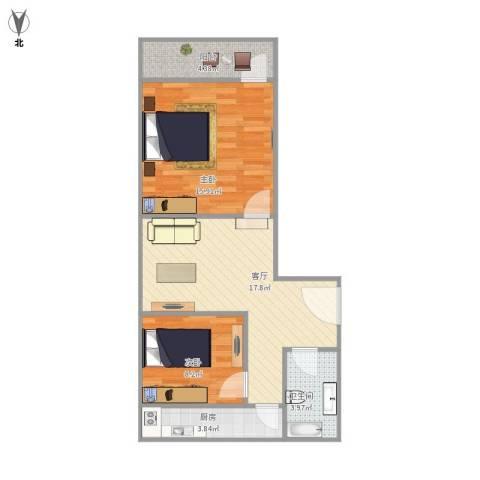 七里堡新居2室1厅1卫1厨74.00㎡户型图