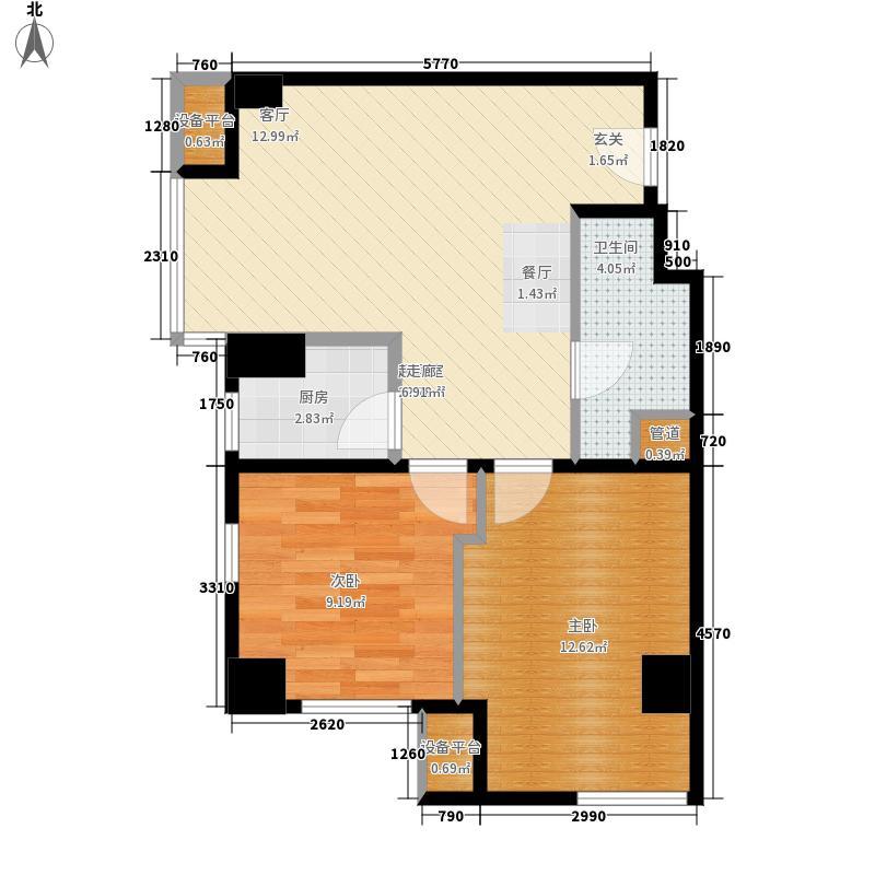 熙汇广场81.00㎡公寓标准层A户型2室1厅