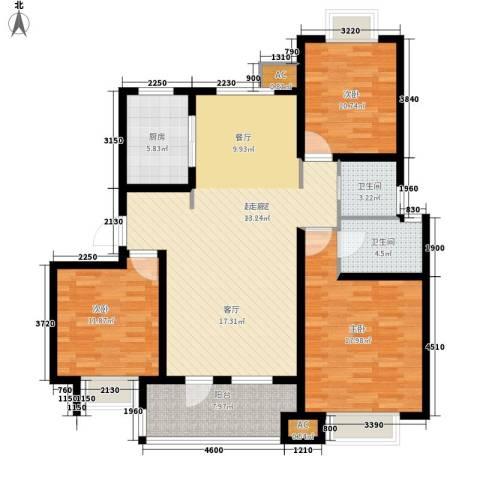 荣盛・阿尔卡迪亚3室0厅2卫1厨119.00㎡户型图