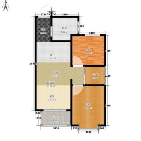 浩正�林湾2室0厅1卫1厨88.00㎡户型图