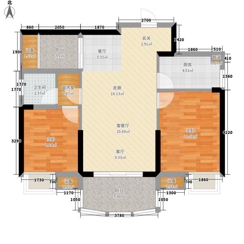 广晟江山帝景83.00㎡江山帝景33-34栋户型2室2厅