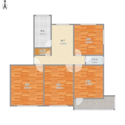 汉口西路小区4室1厅1卫1厨108.00㎡户型图