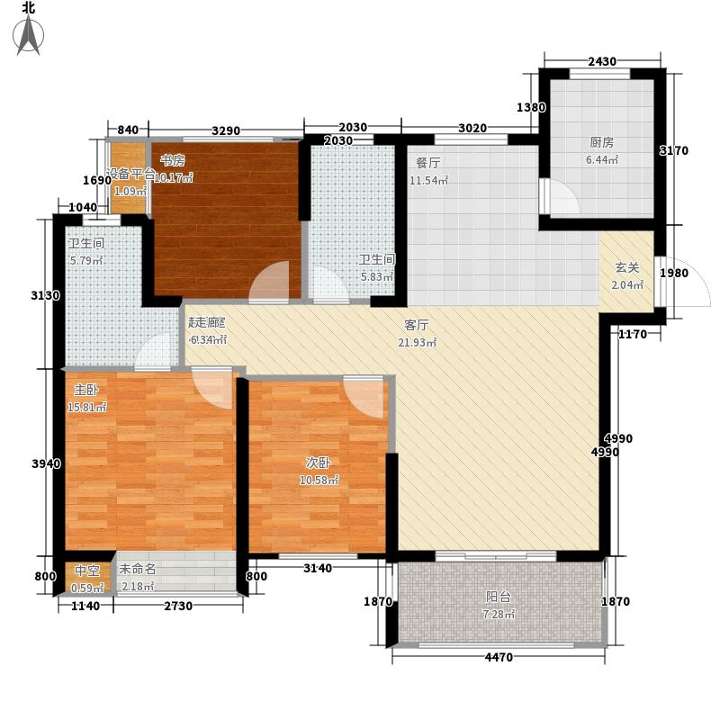 奥克斯盛世缔壹城118.00㎡中央南区F户型3室2厅