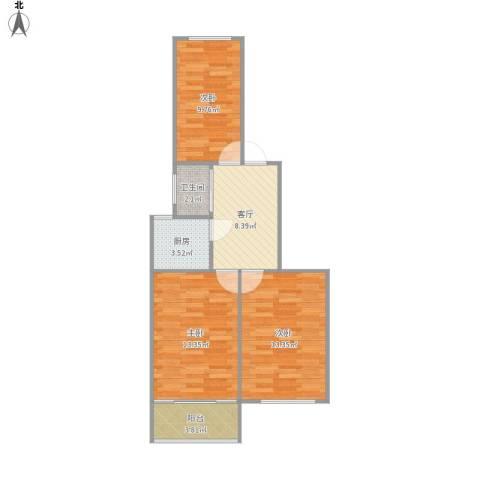 珠江路517号3室1厅1卫1厨74.00㎡户型图