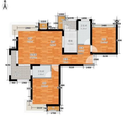 绿洲雅宾利花园2室0厅2卫1厨99.00㎡户型图
