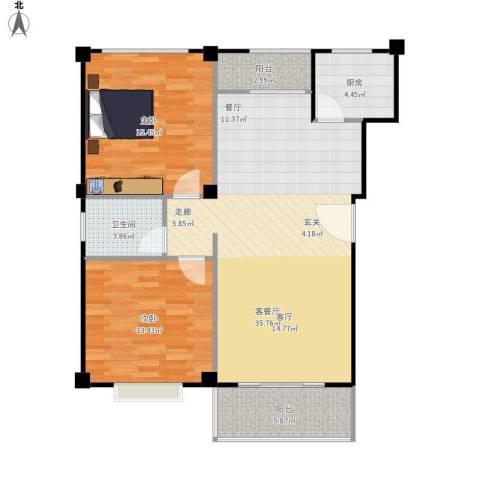 仙霞首府2室1厅1卫1厨110.00㎡户型图