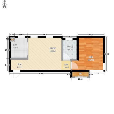 华润橡树湾1室0厅1卫1厨55.00㎡户型图