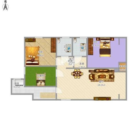 天香心苑3室1厅2卫1厨86.00㎡户型图