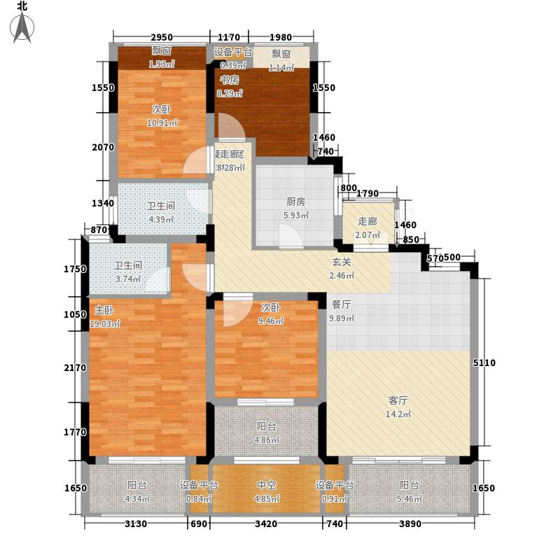 奥克斯盛世缔壹城138.00㎡B-1380户型4室2厅