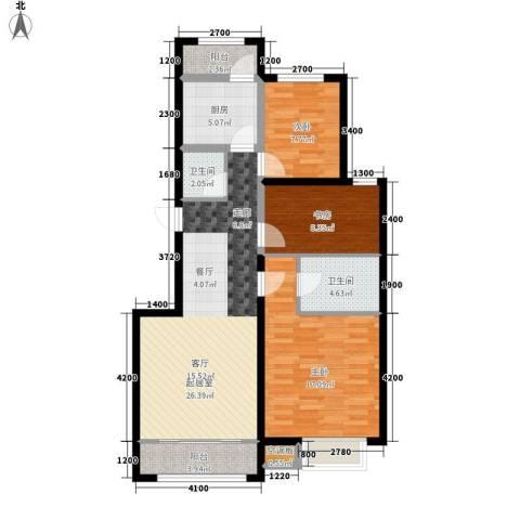 中红一品3室0厅2卫1厨113.00㎡户型图