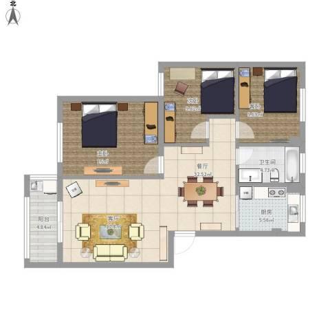 梅江西苑3室1厅1卫1厨116.00㎡户型图