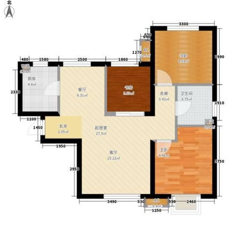 华润橡树湾3室0厅1卫1厨90.00㎡户型图