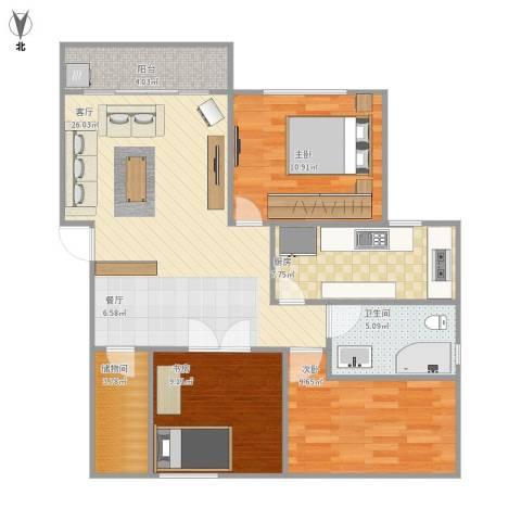 浦发绿城2079弄小区3室1厅1卫1厨103.00㎡户型图